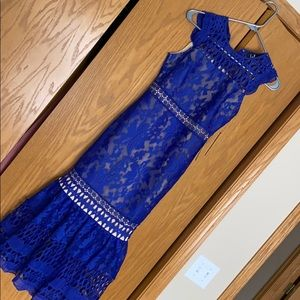 Lulu Charlee Royal Blue Lace Sleeveless Midi